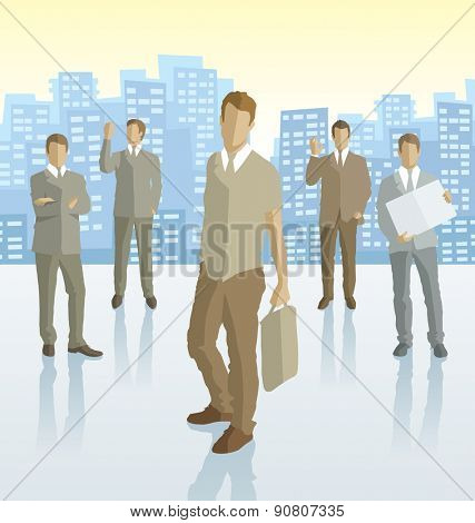 Vector silhouettes of business people with transparency shadows and city