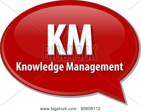 word speech bubble illustration of business acronym term KM Knowledge Management