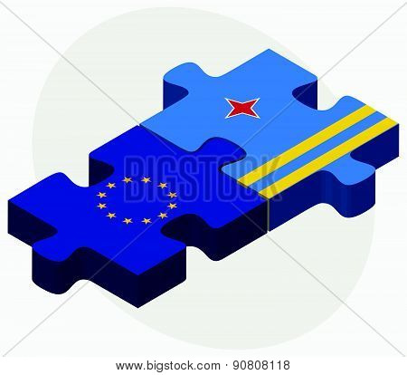 European Union And Aruba Flags In Puzzle