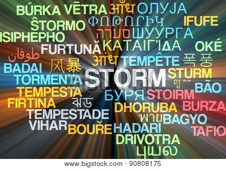 Background concept wordcloud multilanguage international many language illustration of storm glowing light