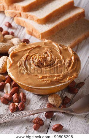 Peanut Butter In A Bowl Close Up Vertical