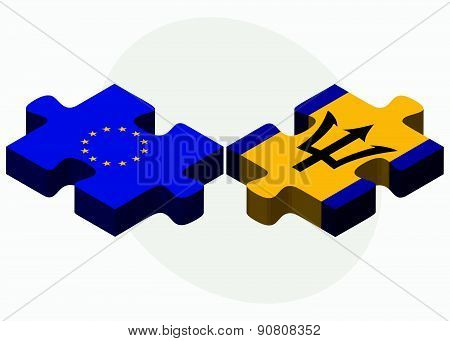 European Union And Barbados Flags In Puzzle