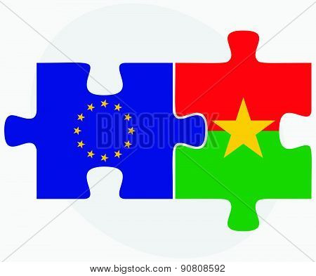 European Union And Burkina Faso Flags In Puzzle