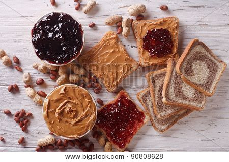 Sandwiches With Peanut Butter And Jelly Horizontal Top View