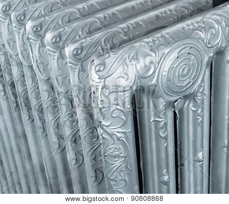 Vintage Decorated Silver Radiator