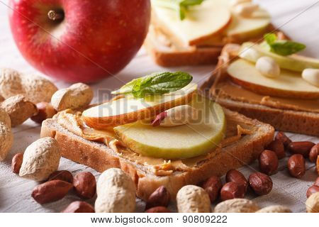 Sweet Sandwich With Peanut Butter And Apple Horizontal