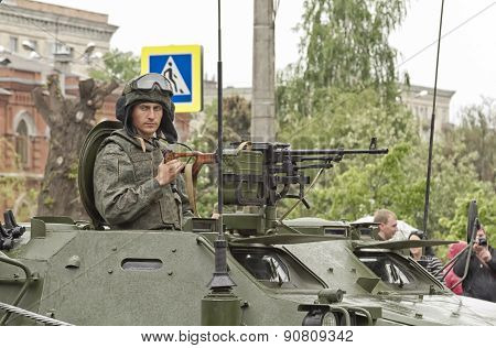 The Soldier Behind A Machine Gun In A Tower, Infantry Fighting Vehicle.