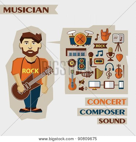 Profession Of People. Flat Infographic. Musician