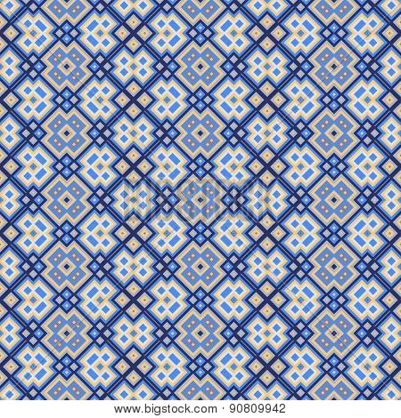 Seamless Geometric Pattern In Blue, Orange