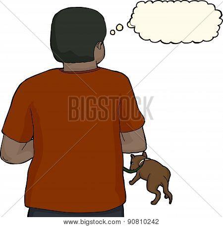 Isolated Hispanic Man With Dog