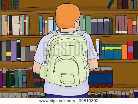 Person Wearing Backpack At Bookshelf