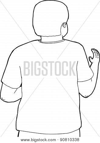 Rear View Outline Of Reaching Person