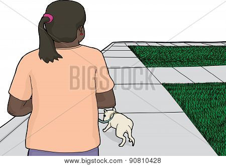 Dog Walking On Sidewalk