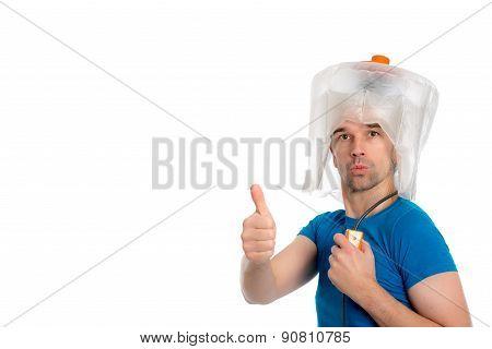 crazy man man with hair dryer
