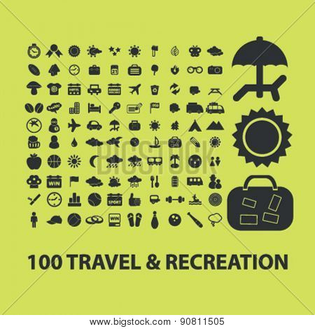 100 travel, recreation, vacation icons, signs, illustrations set, vector