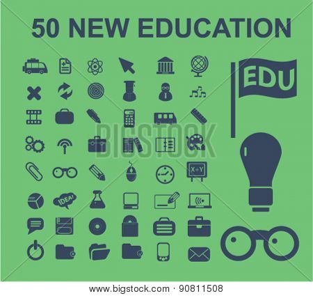 50 education, learning, study, school, science icons, signs, illustrations set, vector