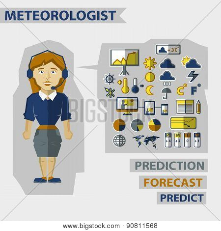 Profession Of People. Flat Infographic. Meteorologist