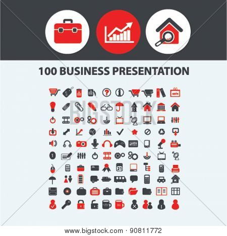 100 business presentation icons, signs, illustrations set, vector
