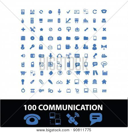 100 communication, connection icons, signs, illustrations set, vector