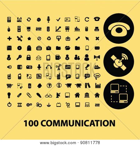100 communication, technology black icons, signs, illustration set, vector