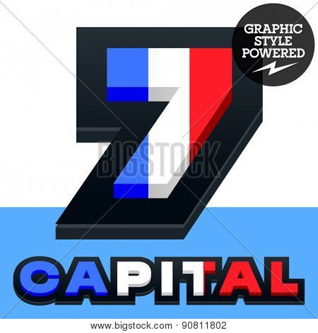 Vector set of French flag alphabet. File contains graphic styles available in Illustrator. Number  7
