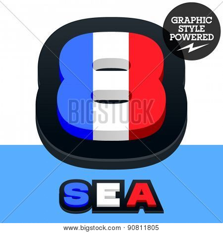 Vector set of French flag alphabet. File contains graphic styles available in Illustrator. Number  8