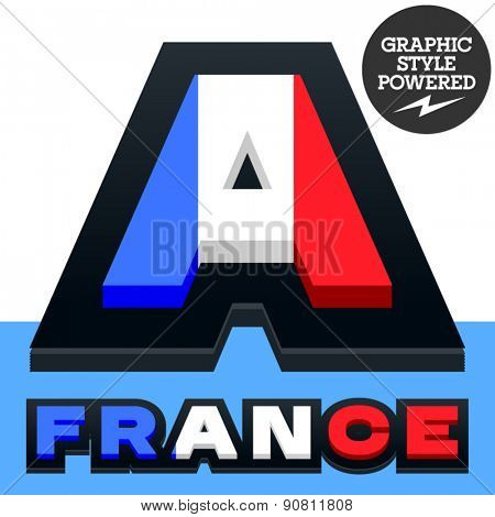Vector set of French flag alphabet. File contains graphic styles available in Illustrator. Letter A