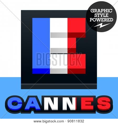 Vector set of French flag alphabet. File contains graphic styles available in Illustrator. Letter E