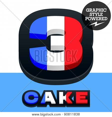 Vector set of French flag alphabet. File contains graphic styles available in Illustrator. Number  3