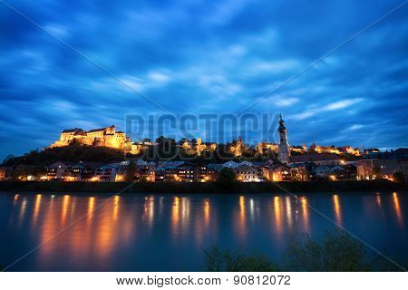 Night Panoramic View Of Burghausen With Reflection