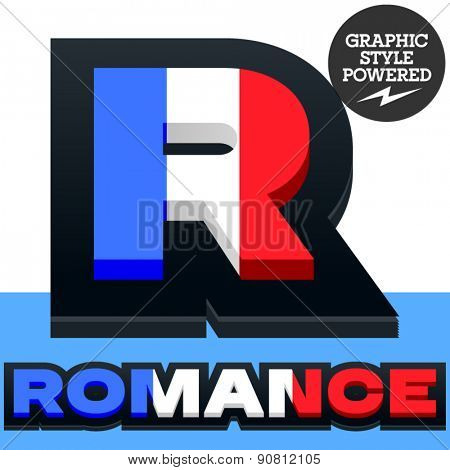 Vector set of French flag alphabet. File contains graphic styles available in Illustrator. Letter R