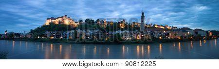 Skyline Of Burghausen, Germany Illuminated At Dusk