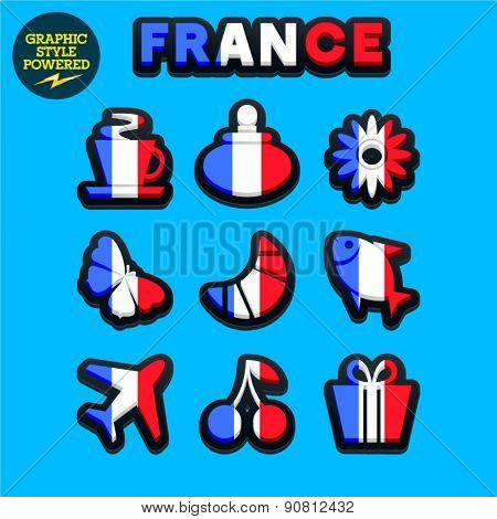 Vector set of fresh and colorful French traditional icons. File contains graphic styles available in Illustrator