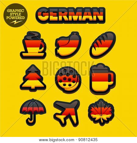 Vector set of fresh and colorful German traditional icons. File contains graphic styles available in Illustrator