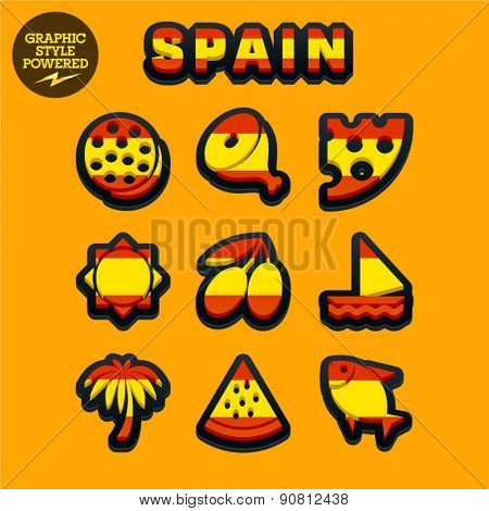 Vector set of fresh and colorful Spanish traditional icons. File contains graphic styles available in Illustrator