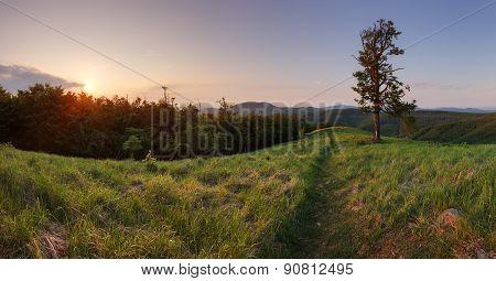 Sunset In Peak Skalnata In Slovakia Mountain - Small Carpathian
