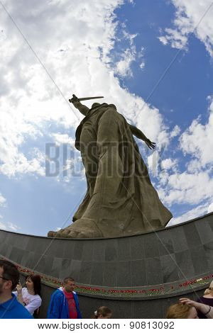 At The Foot Of The Monument Of Motherland Calls In Mamayev Kurgan