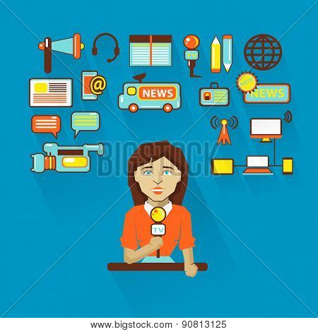 Profession Of People. Flat Infographic. Woman Interviewer