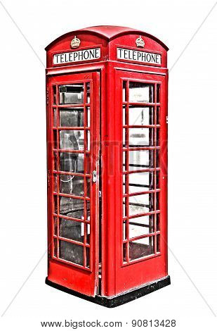 Classic British red phone booth in London UK, isolated on white, hdr