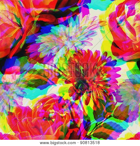 art vintage floral seamless pattern with red, pink and white roses and gerbera on light background. Double Exposure effect