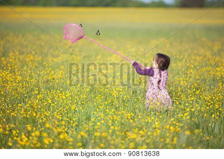 Little Girl Trying To Catch A Butterfly With A Net