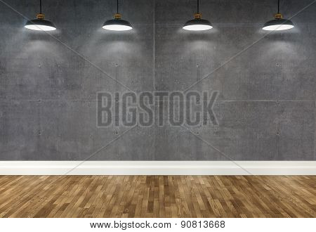 3D Concrete  Room With Ceiling Lamps
