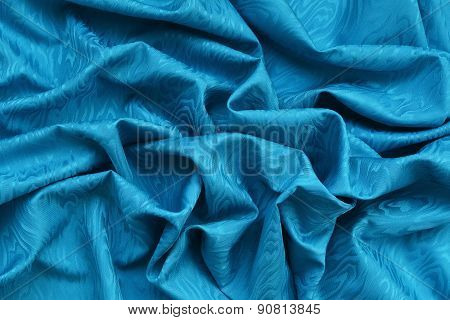 Blue Silk Damask With Wavy Texture