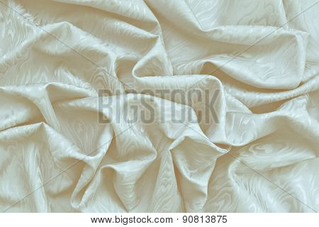 Cream Silk Damask With Wavy Texture