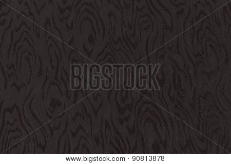 Dark Brown Silk Damask Fabric With Moire Pattern