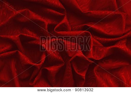 Red Silk Damask With Wavy Texture