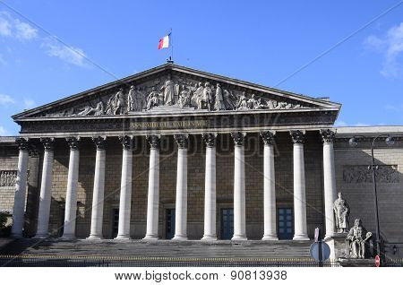 Building Of National Assembly In Paris And Blue Sky