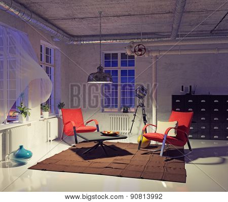the modern loft interior concept design (3d render)