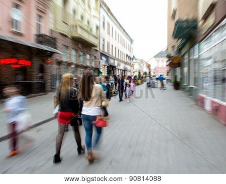 People Going Along The Street