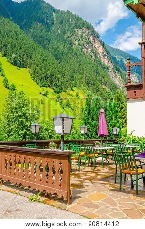 Small Alpine restaurant with terrace
